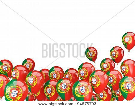 Flying Balloons With Flag Of Portugal