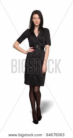 Woman in black dress isolated on wahite background