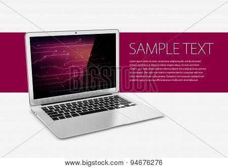 Modern laptop on tech background