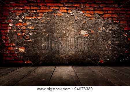 Old Room With Brick Wall.