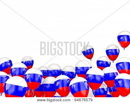 Flying Balloons With Flag Of Russia