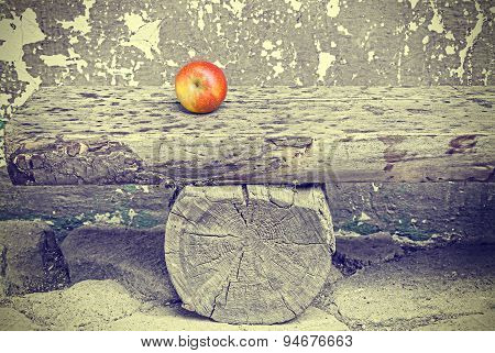 Ripe Apple On Old Wooden Bench, Retro Toned.