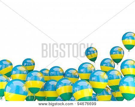 Flying Balloons With Flag Of Rwanda