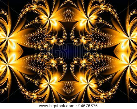 Fire Flower Pattern In Fractal Design. Brown And Fire. Computer Graphics.