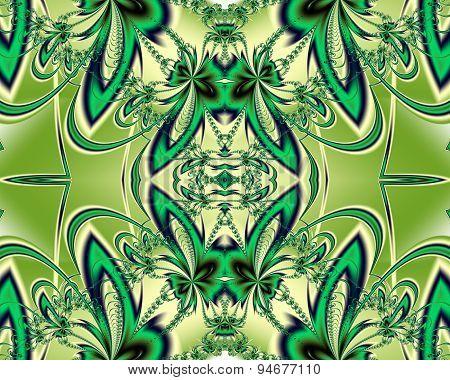 Flower Pattern In Fractal Design. Green And Beige Palette. Computer Graphics.