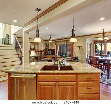 Traditional Kitchen With Marble Counters.