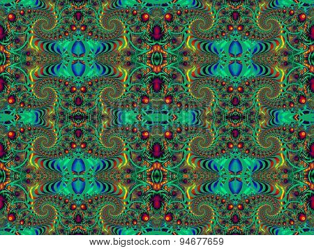 Beautiful Background With Spiral Pattern. Red And Green Palette. Artwork For Creative Design
