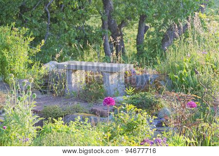 Garden Bench Made Of Stone