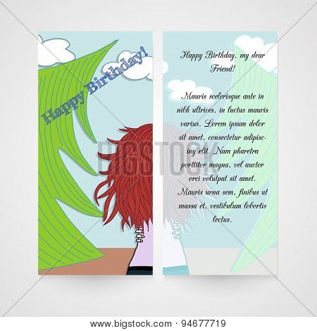 Designe greeting card with women in the wood.