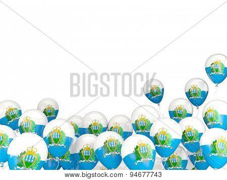 Flying Balloons With Flag Of San Marino
