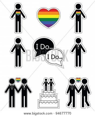 Gay man wedding with rainbow element