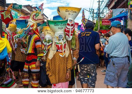 Annual Thai Ghost Festival in Thailand northern province of Loei on June 27 2015. Regarded as a rain