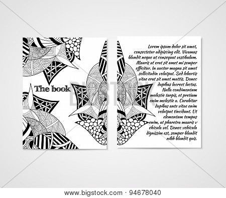 Design of boock cover with doodle abstract pattern.