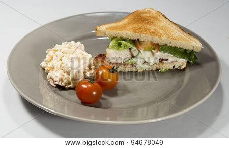 Club Sandwich On Plate With Coleslaw