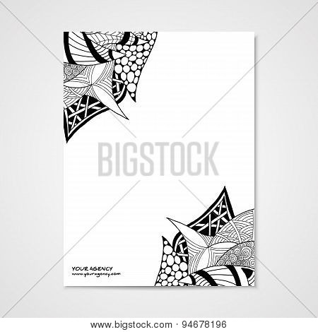 Graphic design letterhead with hand drawn ornament
