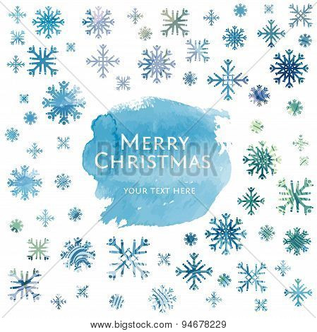 Snowflake Winter Watercolor Christmas Background