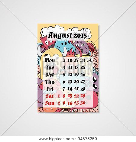 Calendar design with doodle abstract monsters pattern.
