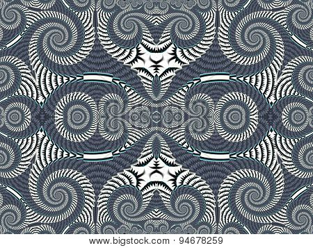 Symmetrical Textured Background With Spirals. Gray And White Palette. Computer  Graphics.