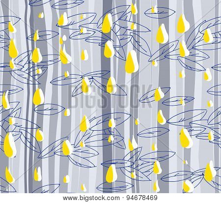 Hand-drawn Abstract Seamless Pattern. Colorful Shapes Of Leaves And Rain Drops