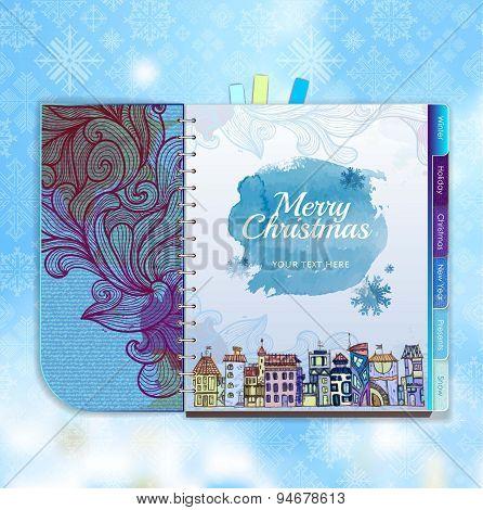 Christmas Background. Notebook. Decorative City