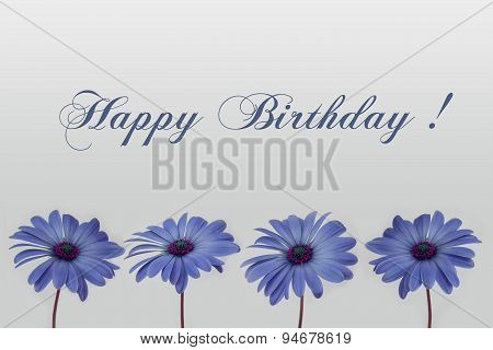 Happy birthday text with flower decoration