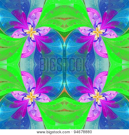 Beautiful Symmetrical Pattern In Stained-glass Window Style. Green, Blue, Pink Palette.