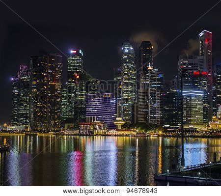 Singapore city skyline at night.