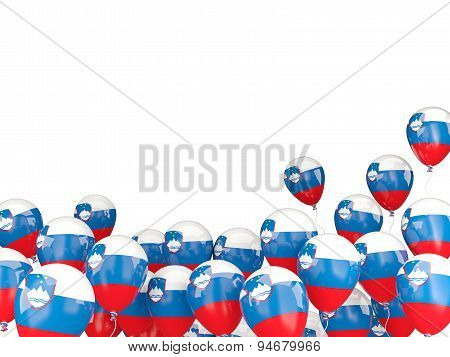Flying Balloons With Flag Of Slovenia