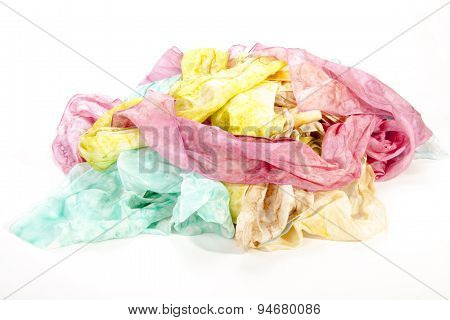 Multicolored Collection Of Crumpled Habotai Silk Scarves