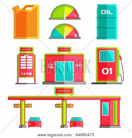 Gas station. Icon. Flat style vector illustration.