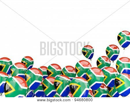 Flying Balloons With Flag Of South Africa