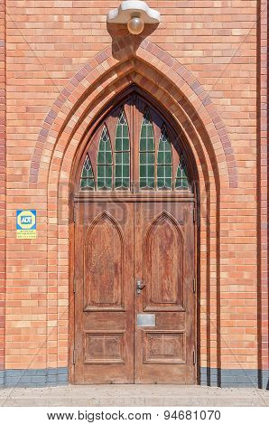 Door At The Dutch Reformed Church In Boshof