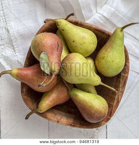 Pears On White Wooden Table