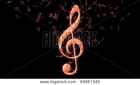 Treble clef with flying notes