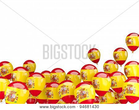 Flying Balloons With Flag Of Spain