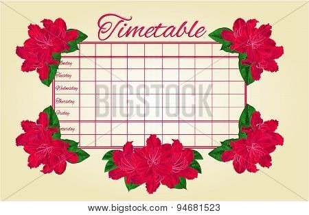 Timetable Weekly Schedule With Red Rhododendron Vector