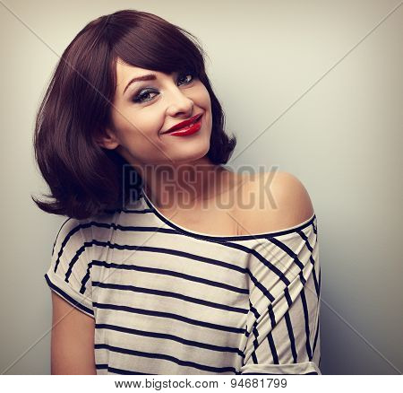 Happy Casual Young Smiling Woman With Short Hairstyle Looking. Vintage Portrait