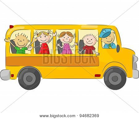 Happy children cartoon on school bus