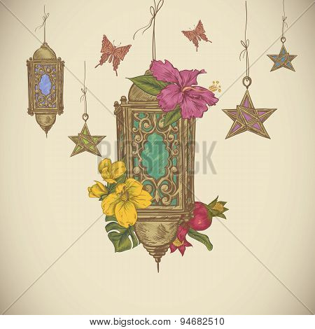 Traditional greeting card with arabic lantern and flowers,