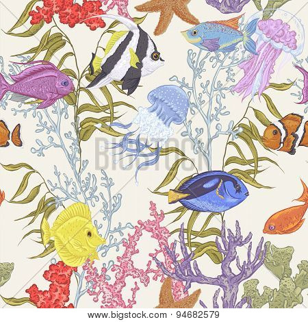 Sea life seamless background, underwater vector illustration