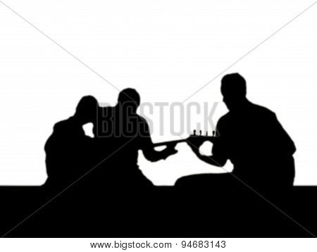 Silhouette of a Group of Musicians