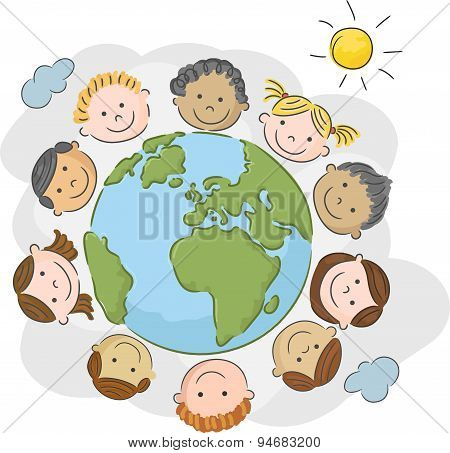 The world's children cartoon in a circle in the world