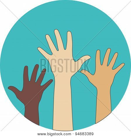Circle Flat Icon. Hands Raised Up. Concept Of Volunteerism, Multi-ethnicity