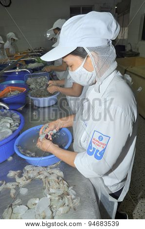 Quy Nhon, Vietnam - August 1, 2012: Workers Are Peeling Fresh Raw Shrimps In A Seafood Factory In Qu
