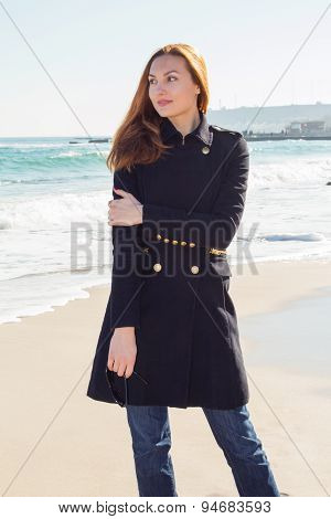 Beautiful And Style Redhead Young Woman On Seaside