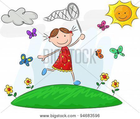 Cartoon little girl holding nets