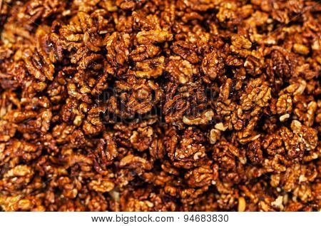 Walnut Kernels  Background On A Market Stall Close-up. Food Healthy Backdrop