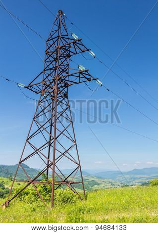 Electricity Post In The Mountains