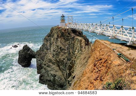 The bridge to Lighthouse on the rock. Point Bonita Lighthouse, San Francisco
