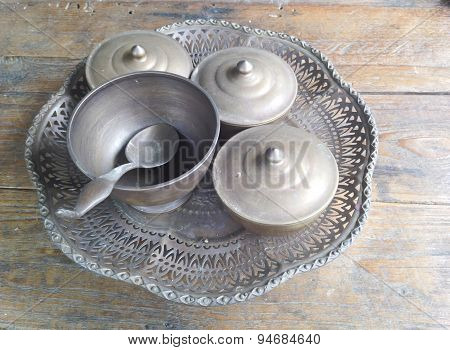 Old Tray Or Suit Of Food Ware